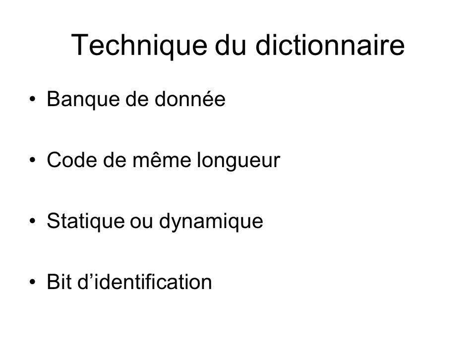 Technique du dictionnaire Banque de donnée Code de même longueur Statique ou dynamique Bit didentification
