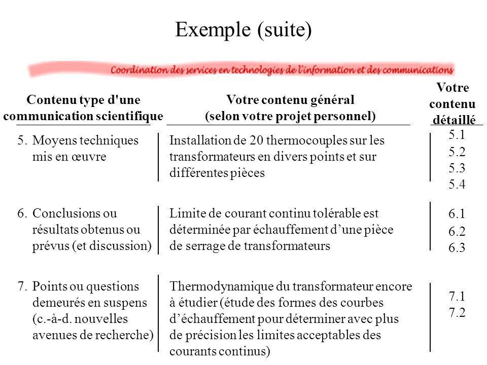 Exemple (suite) Votre contenu général (selon votre projet personnel) 5.Moyens techniques mis en œuvre 6.Conclusions ou résultats obtenus ou prévus (et