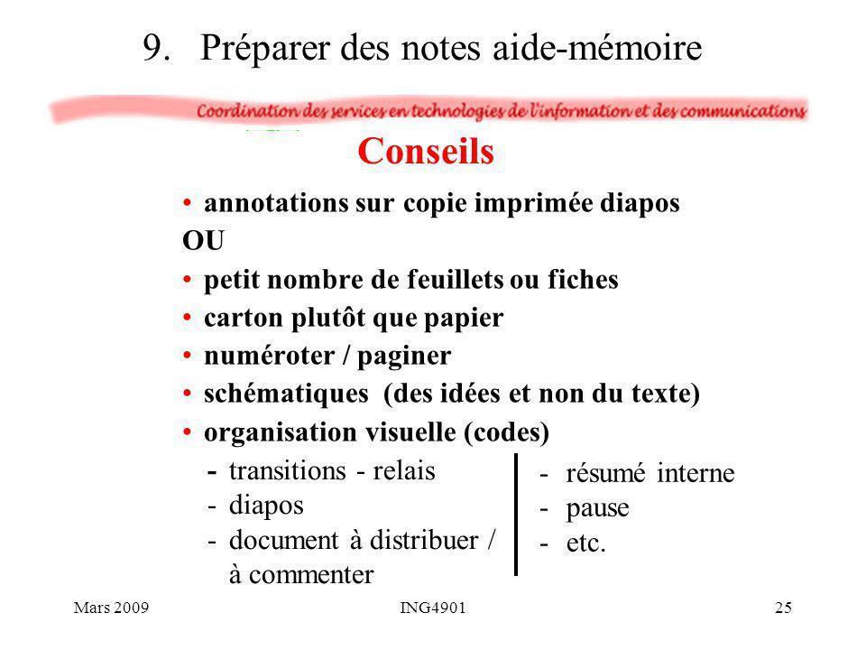 annotations sur copie imprimée diapos OU petit nombre de feuillets ou fiches carton plutôt que papier numéroter / paginer schématiques (des idées et n