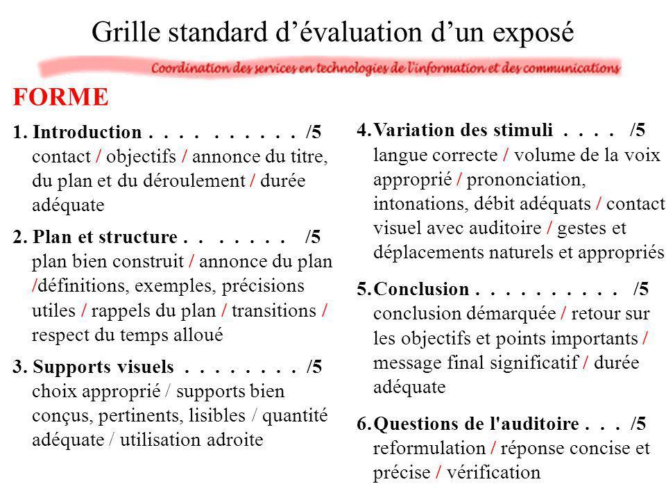 FORME 1. Introduction.......... /5 contact / objectifs / annonce du titre, du plan et du déroulement / durée adéquate 2. Plan et structure....... /5 p