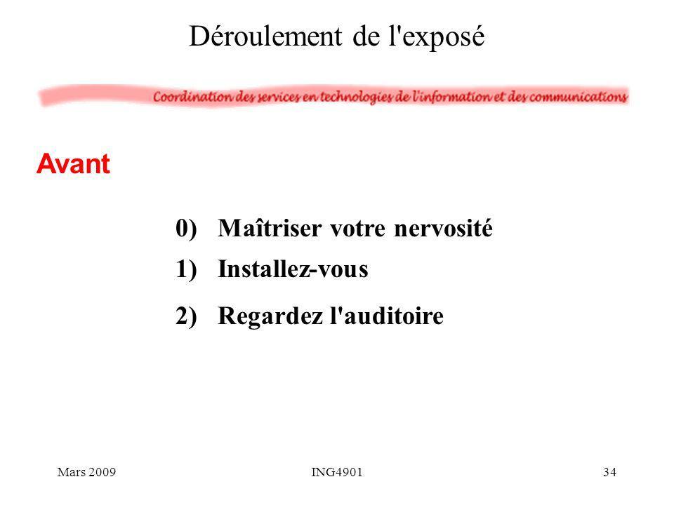 0)Maîtriser votre nervosité 1)Installez-vous 2)Regardez l'auditoire Déroulement de l'exposé Avant Mars 200934ING4901