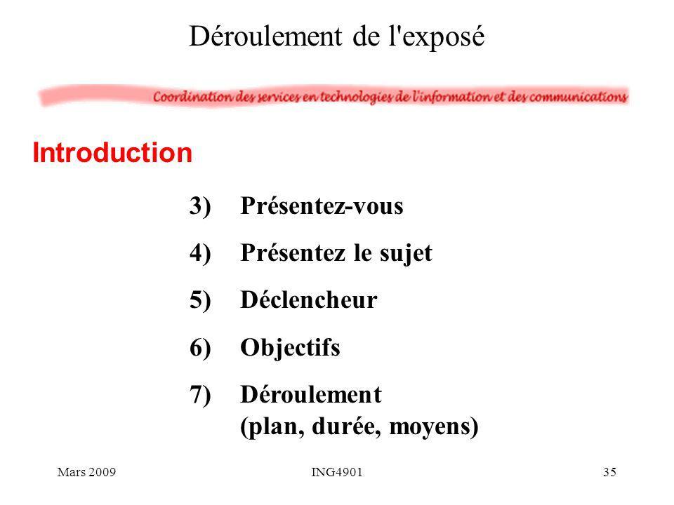 3)Présentez-vous 4)Présentez le sujet 5)Déclencheur 6)Objectifs 7)Déroulement (plan, durée, moyens) Introduction Déroulement de l'exposé Mars 200935IN