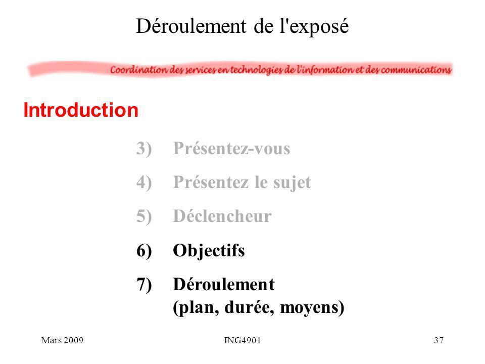 3)Présentez-vous 4)Présentez le sujet 5)Déclencheur 6)Objectifs 7)Déroulement (plan, durée, moyens) Introduction Déroulement de l'exposé Mars 200937IN