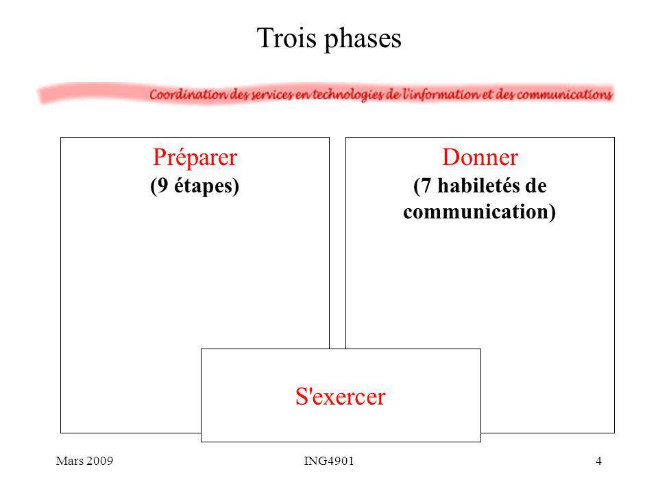 1.Adapter l exposé à l auditoire 2.Adapter l exposé aux circonstances 3.Définir sommairement le contenu 4.Préciser le mandat et les objectifs 5.Formuler le titre 6.Déterminer le contenu définitif 7.Bâtir le plan 8.Préparer les supports visuels 9.Préparer des notes aide-mémoire - - - - - - - - - - - - - - S exercer Préparer en 9 étapes