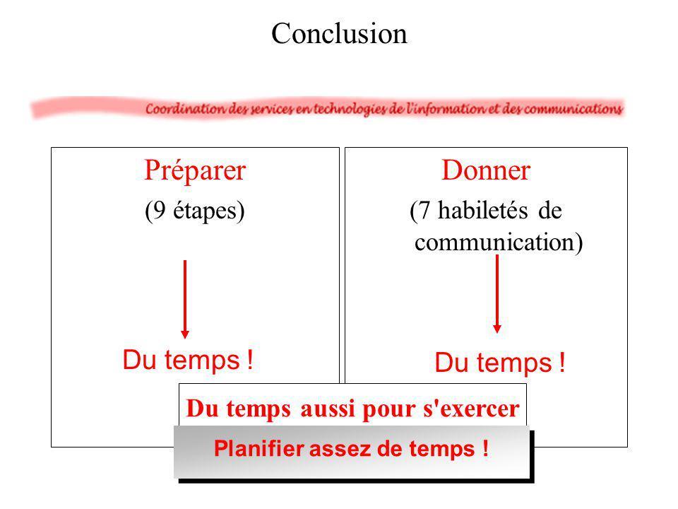 Préparer (9 étapes) Donner (7 habiletés de communication) Du temps ! Conclusion Du temps ! Du temps aussi pour s'exercer Planifier assez de temps !