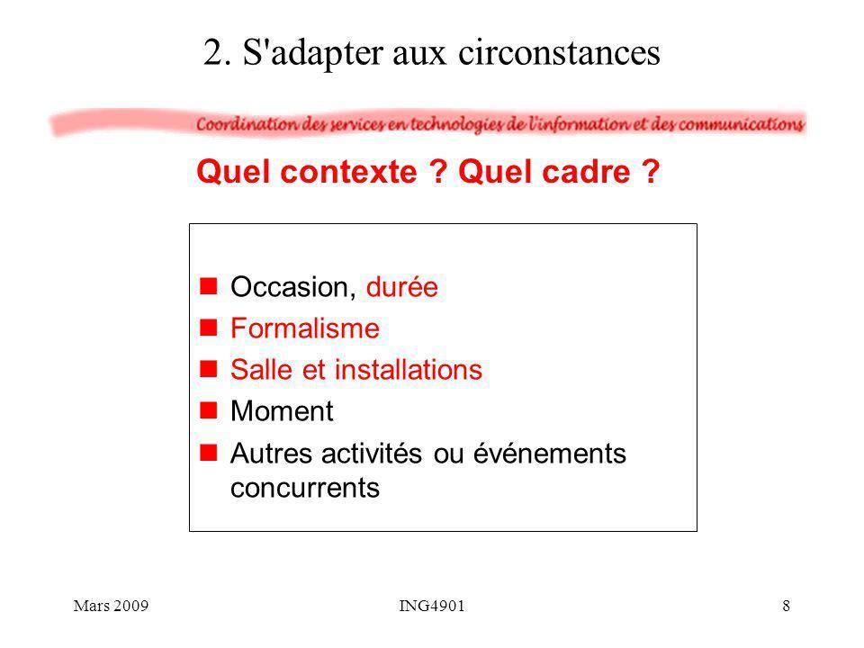 Déroulement de l exposé 11) Résumez les éléments clés de votre travail et ouvrez sur les suites Conclusion écouter réponse concise (et franche) 12) Répondez aux questions Questions Mars 200939ING4901