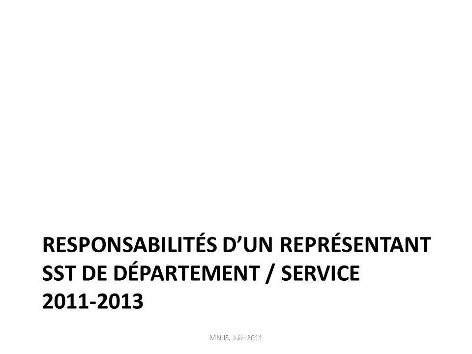 Dossier CSSIDS Participer aux rencontres Faire le suivi des dossiers avec le département /service entre les rencontres Agir activement comme agent de liaison entre le CSSIDS, le secteur Santé et sécurité et les membres du département / services pour des enjeux tels la Politique Santé et sécurité & le plan daction 2011-2013 Total dheures par mois: 6h MNdS, Juin 2011