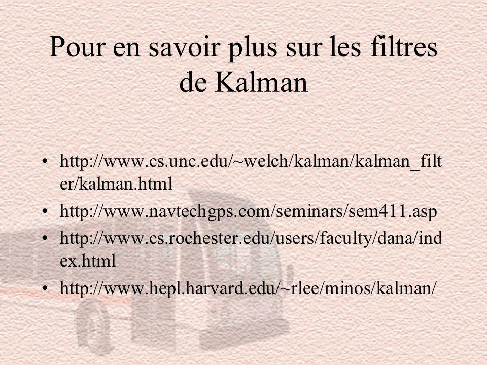 Pour en savoir plus sur les filtres de Kalman http://www.cs.unc.edu/~welch/kalman/kalman_filt er/kalman.html http://www.navtechgps.com/seminars/sem411.asp http://www.cs.rochester.edu/users/faculty/dana/ind ex.html http://www.hepl.harvard.edu/~rlee/minos/kalman/