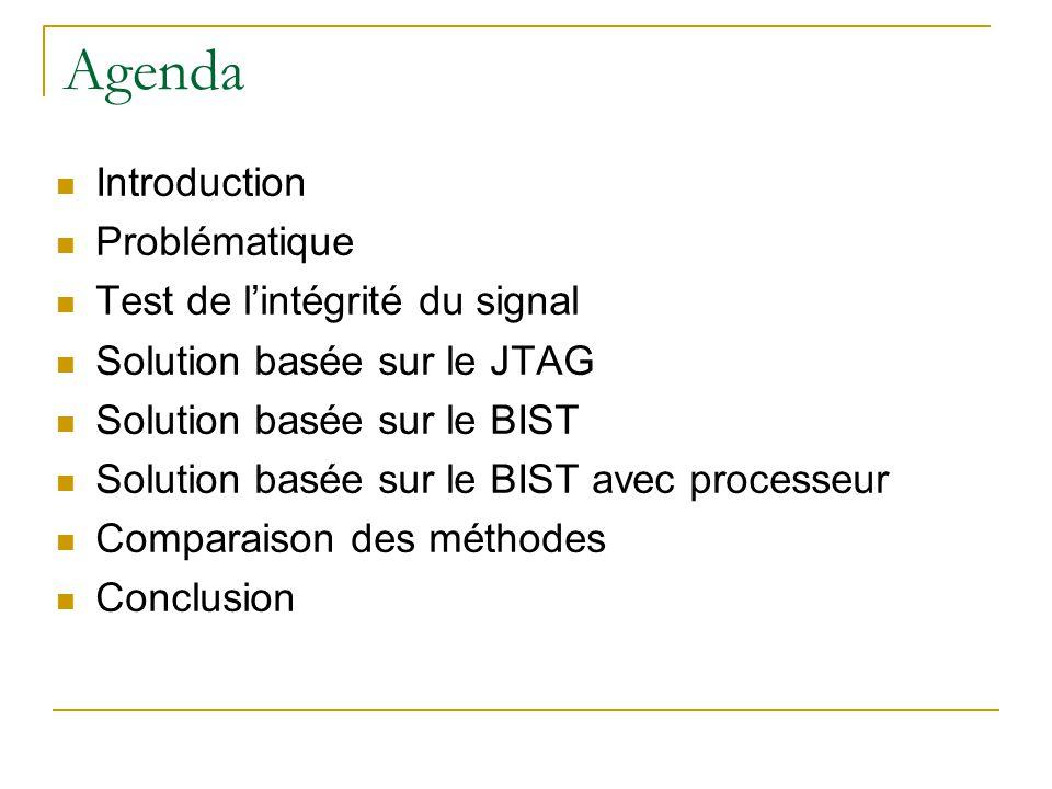 Agenda Introduction Problématique Test de lintégrité du signal Solution basée sur le JTAG Solution basée sur le BIST Solution basée sur le BIST avec processeur Comparaison des méthodes Conclusion