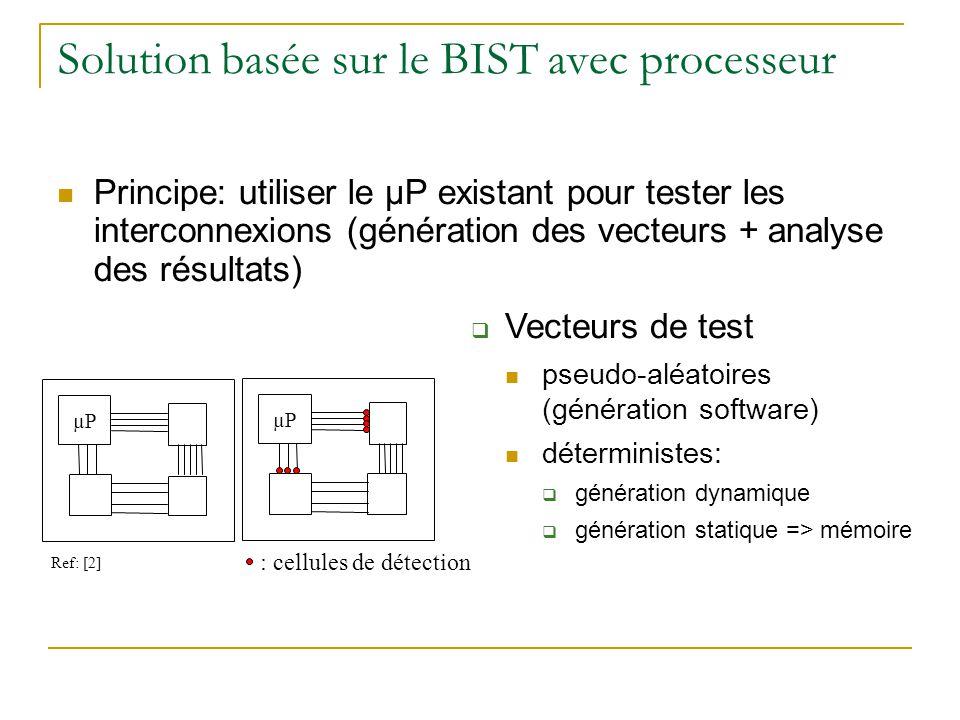 Solution basée sur le BIST avec processeur Principe: utiliser le µP existant pour tester les interconnexions (génération des vecteurs + analyse des résultats) µP : cellules de détection Vecteurs de test pseudo-aléatoires (génération software) déterministes: génération dynamique génération statique => mémoire Ref: [2]