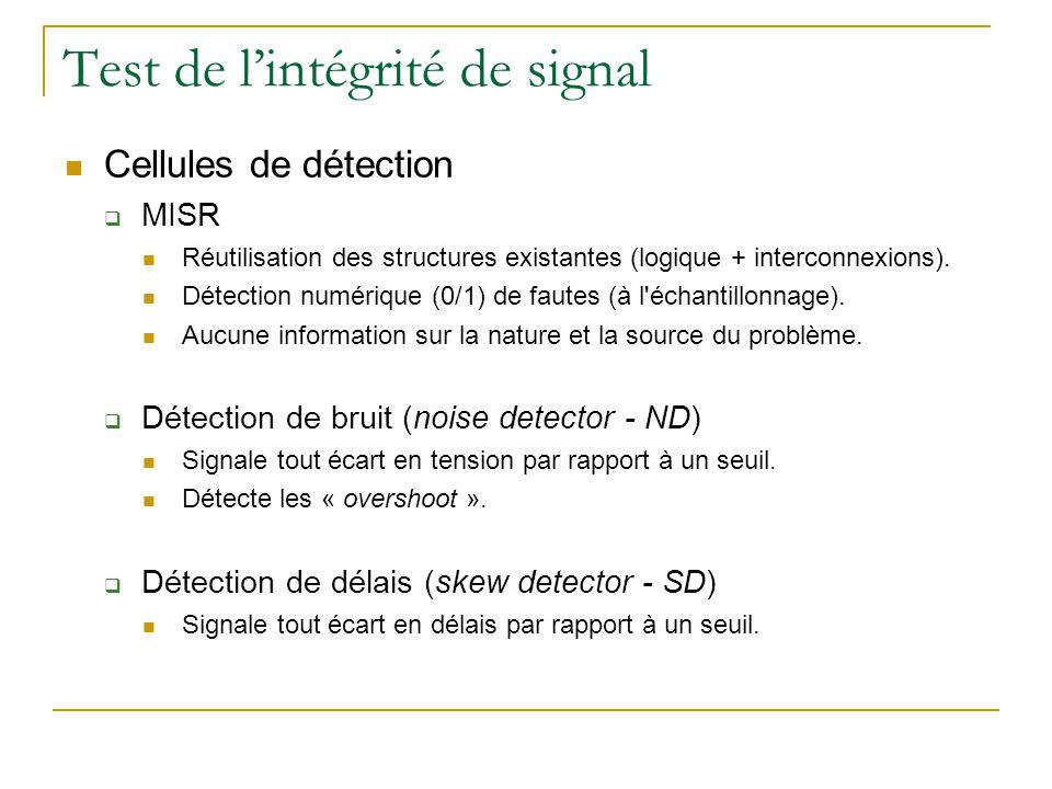 Test de lintégrité de signal Cellules de détection MISR Réutilisation des structures existantes (logique + interconnexions).