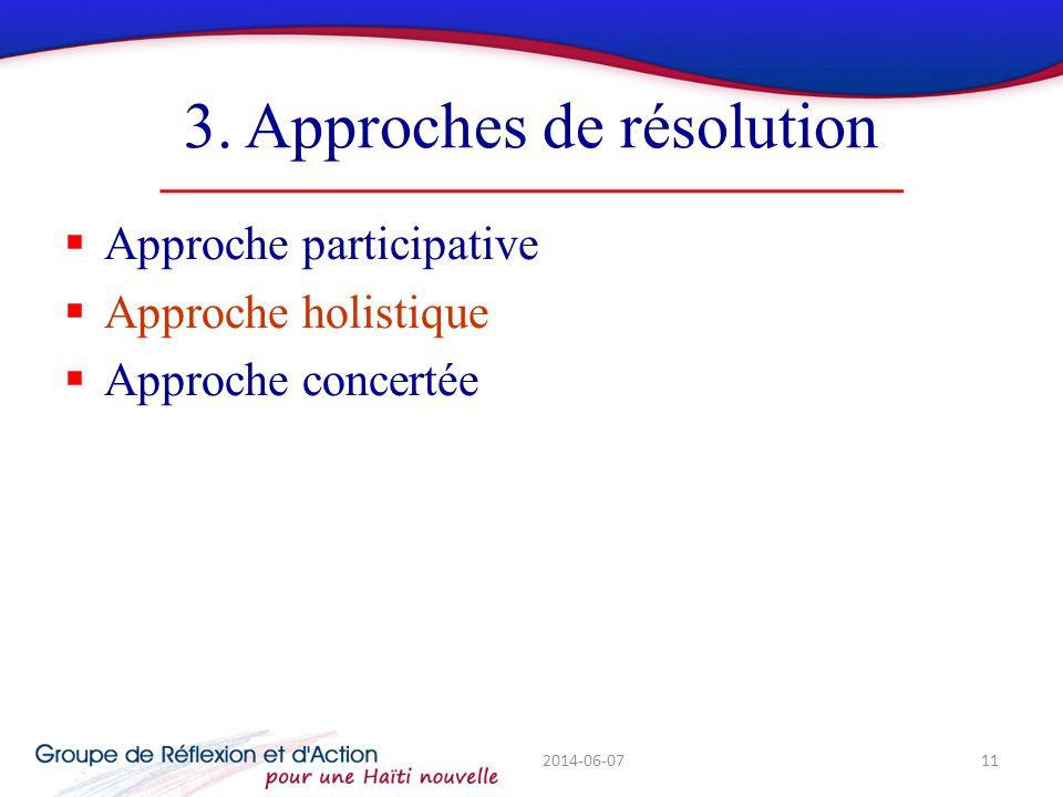 3. Approches de résolution Approche participative Approche holistique Approche concertée 2014-06-0711