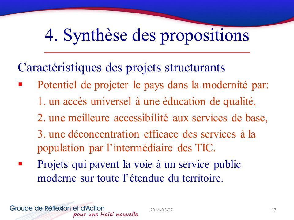 4. Synthèse des propositions Caractéristiques des projets structurants Potentiel de projeter le pays dans la modernité par: 1. un accès universel à un
