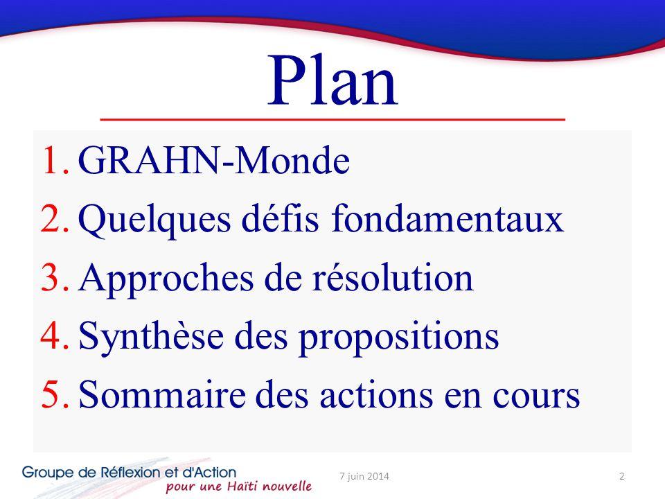 Plan 1.GRAHN-Monde 2.Quelques défis fondamentaux 3.Approches de résolution 4.Synthèse des propositions 5.Sommaire des actions en cours 7 juin 20142