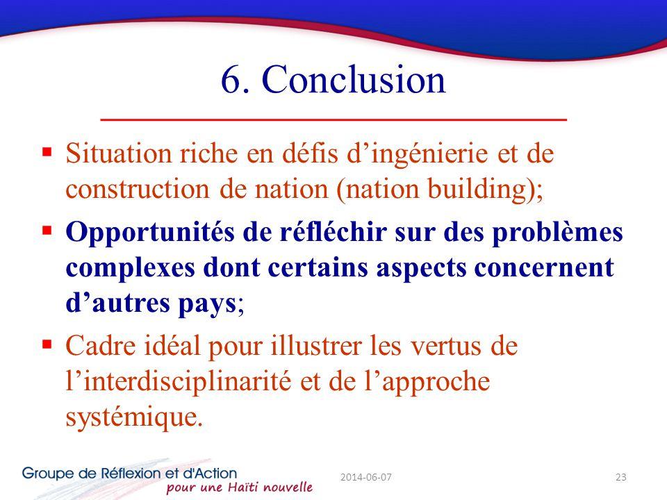 6. Conclusion Situation riche en défis dingénierie et de construction de nation (nation building); Opportunités de réfléchir sur des problèmes complex