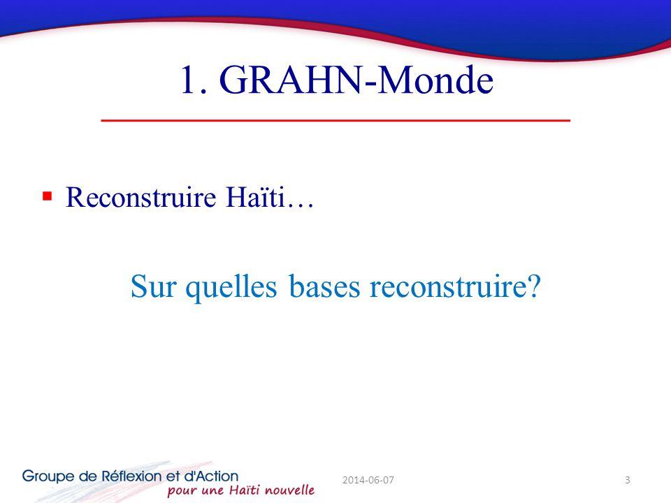 1. GRAHN-Monde Reconstruire Haïti… Sur quelles bases reconstruire? 2014-06-073