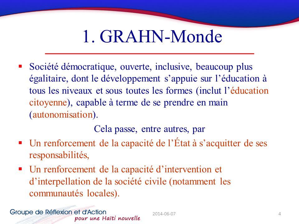 1. GRAHN-Monde Société démocratique, ouverte, inclusive, beaucoup plus égalitaire, dont le développement sappuie sur léducation à tous les niveaux et