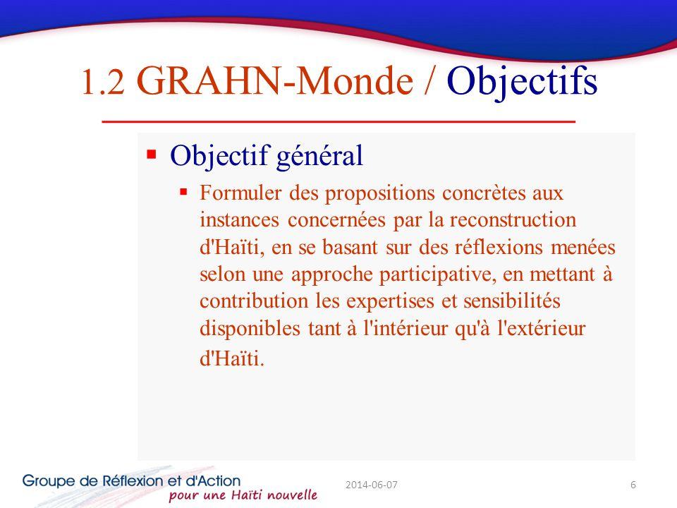 1.2 GRAHN-Monde / Objectifs Objectif général Formuler des propositions concrètes aux instances concernées par la reconstruction d Haïti, en se basant sur des réflexions menées selon une approche participative, en mettant à contribution les expertises et sensibilités disponibles tant à l intérieur qu à l extérieur d Haïti.