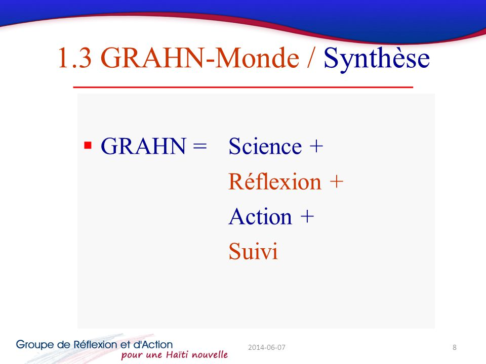 1.3 GRAHN-Monde / Synthèse GRAHN = Science + Réflexion + Action + Suivi 2014-06-078