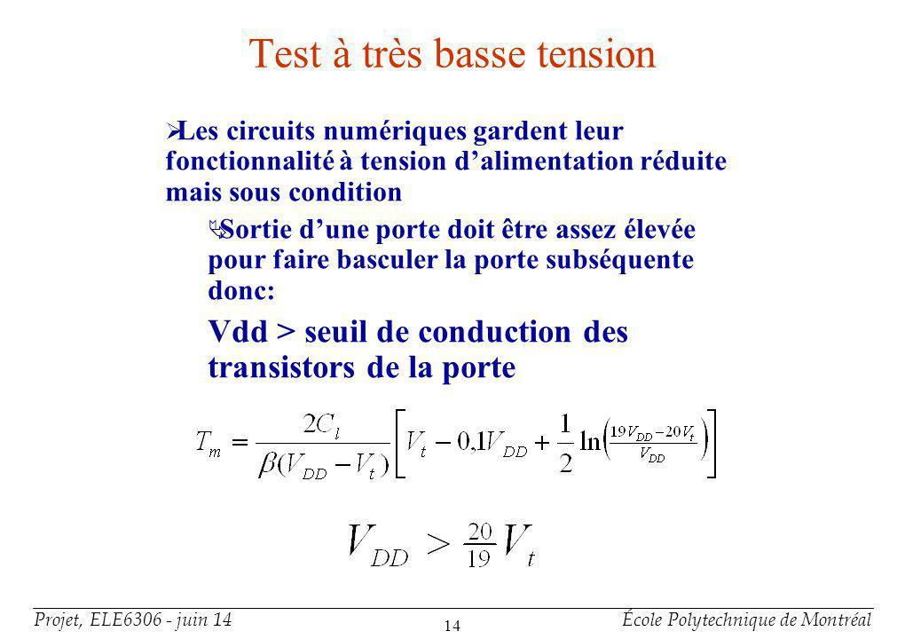 Projet, ELE6306 - juin 14École Polytechnique de Montréal 14 Test à très basse tension Les circuits numériques gardent leur fonctionnalité à tension da