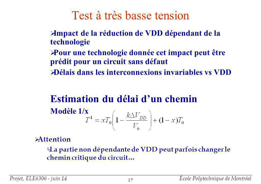 Projet, ELE6306 - juin 14École Polytechnique de Montréal 17 Test à très basse tension Impact de la réduction de VDD dépendant de la technologie Pour u