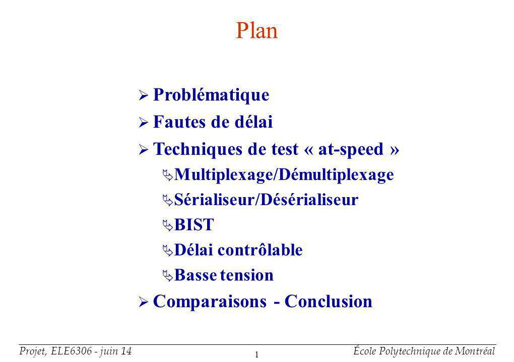Projet, ELE6306 - juin 14École Polytechnique de Montréal 1 Plan Problématique Fautes de délai Techniques de test « at-speed » Multiplexage/Démultiplex
