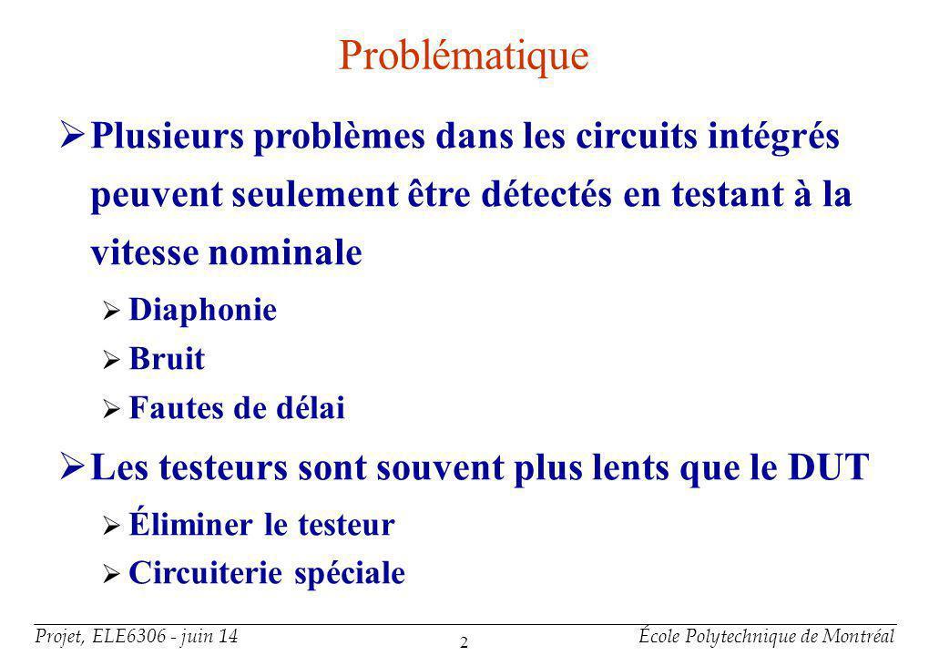 Projet, ELE6306 - juin 14École Polytechnique de Montréal 2 Problématique Plusieurs problèmes dans les circuits intégrés peuvent seulement être détecté