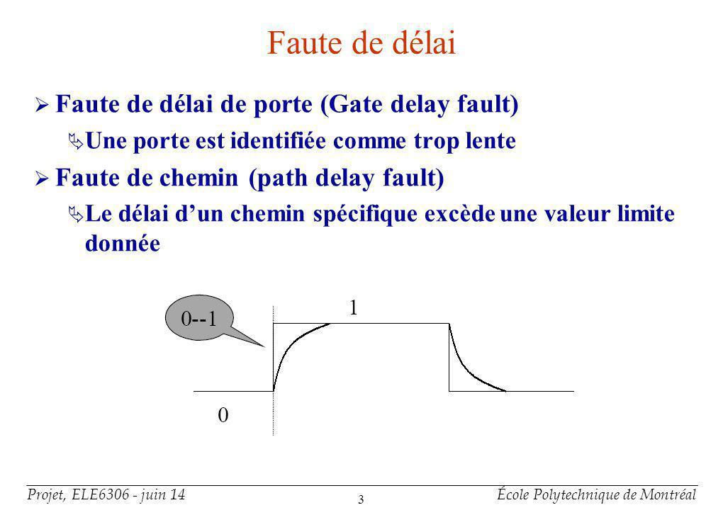 Projet, ELE6306 - juin 14École Polytechnique de Montréal 3 Faute de délai Faute de délai de porte (Gate delay fault) Une porte est identifiée comme tr