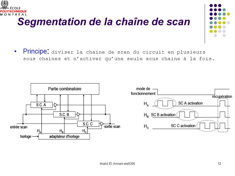 khalid El Amrani-ele630612 Segmentation de la chaîne de scan Principe : diviser la chaine de scan du circuit en plusieurs sous chaines et nactiver quu