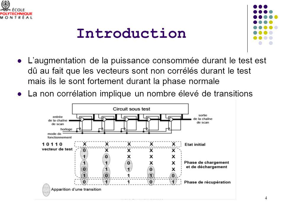 khalid El Amrani-ele63064 Introduction Laugmentation de la puissance consommée durant le test est dû au fait que les vecteurs sont non corrélés durant