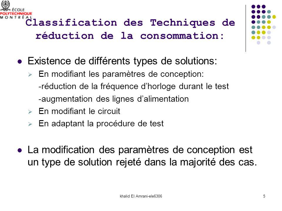 khalid El Amrani-ele63066 Introduction : Classification des Techniques de réduction de la consommation: Techniques étudiées dans ce travail: Réordonnancement des bascules de la chaîne de scan Contrôler les entrées primaires du circuit Compaction de la séquence de test Segmentation de la chaîne de scan Inhibition de lactivité de commutation Comparaison des techniques étudiées: Discussion: PLAN