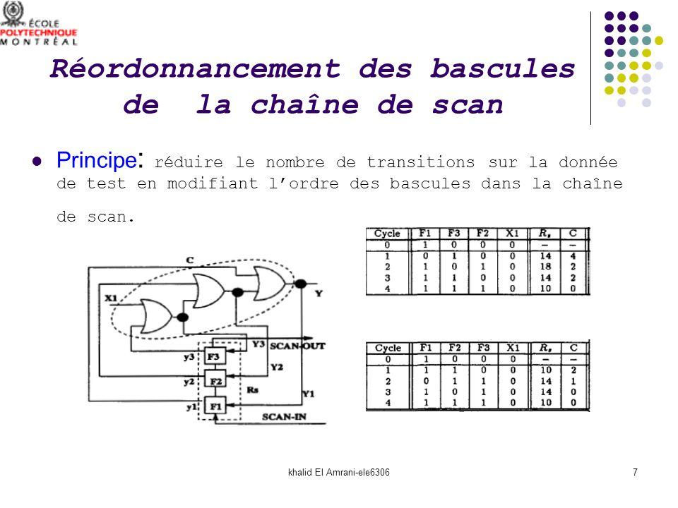 khalid El Amrani-ele63067 Réordonnancement des bascules de la chaîne de scan Principe : réduire le nombre de transitions sur la donnée de test en modi