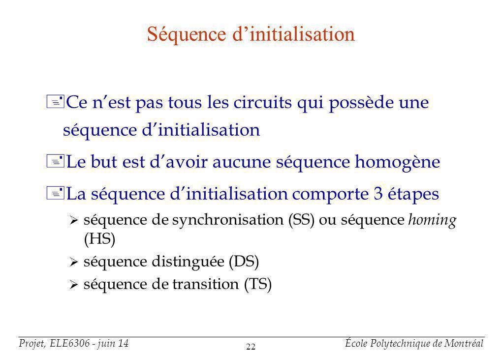 Projet, ELE6306 - juin 14École Polytechnique de Montréal 22 Séquence dinitialisation +Ce nest pas tous les circuits qui possède une séquence dinitialisation +Le but est davoir aucune séquence homogène +La séquence dinitialisation comporte 3 étapes séquence de synchronisation (SS) ou séquence homing (HS) séquence distinguée (DS) séquence de transition (TS)