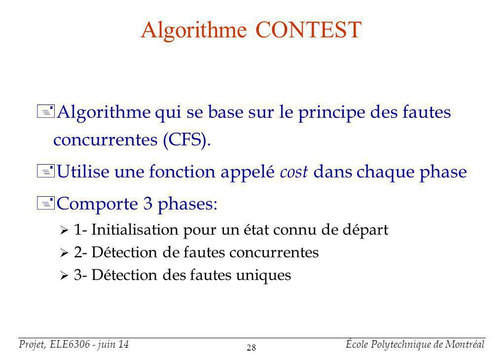 Projet, ELE6306 - juin 14École Polytechnique de Montréal 28 Algorithme CONTEST +Algorithme qui se base sur le principe des fautes concurrentes (CFS).