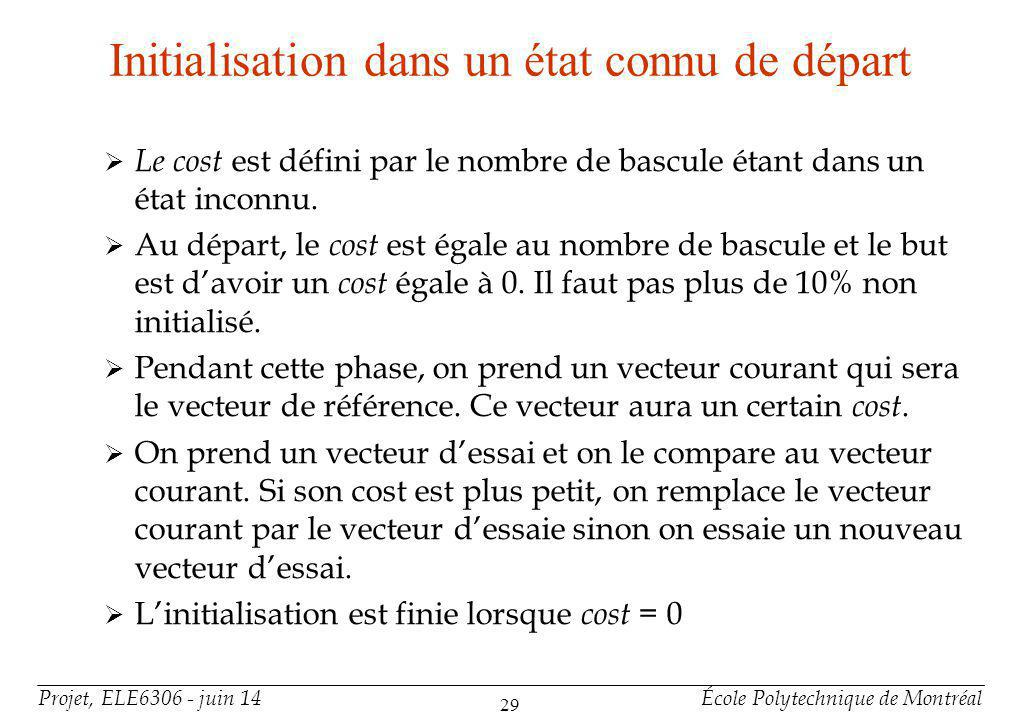 Projet, ELE6306 - juin 14École Polytechnique de Montréal 29 Initialisation dans un état connu de départ Le cost est défini par le nombre de bascule étant dans un état inconnu.