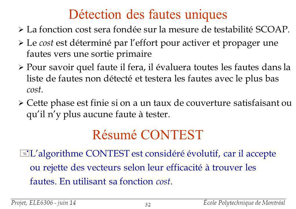 Projet, ELE6306 - juin 14École Polytechnique de Montréal 32 Détection des fautes uniques La fonction cost sera fondée sur la mesure de testabilité SCOAP.