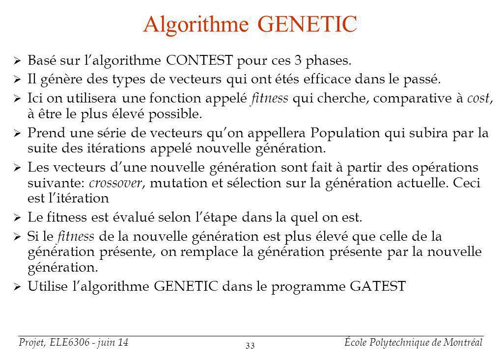 Projet, ELE6306 - juin 14École Polytechnique de Montréal 34 Algorithme ALT-TEST (hybride) +Intéressante et pas souvent utilisée +Méthode génétique simulation-based et déterminatrice +Avantage des deux méthodes +Il existe aussi CRIS-hybrid et GA-HITEC +Alt-Test est différent de ces prédécesseurs par certains points.