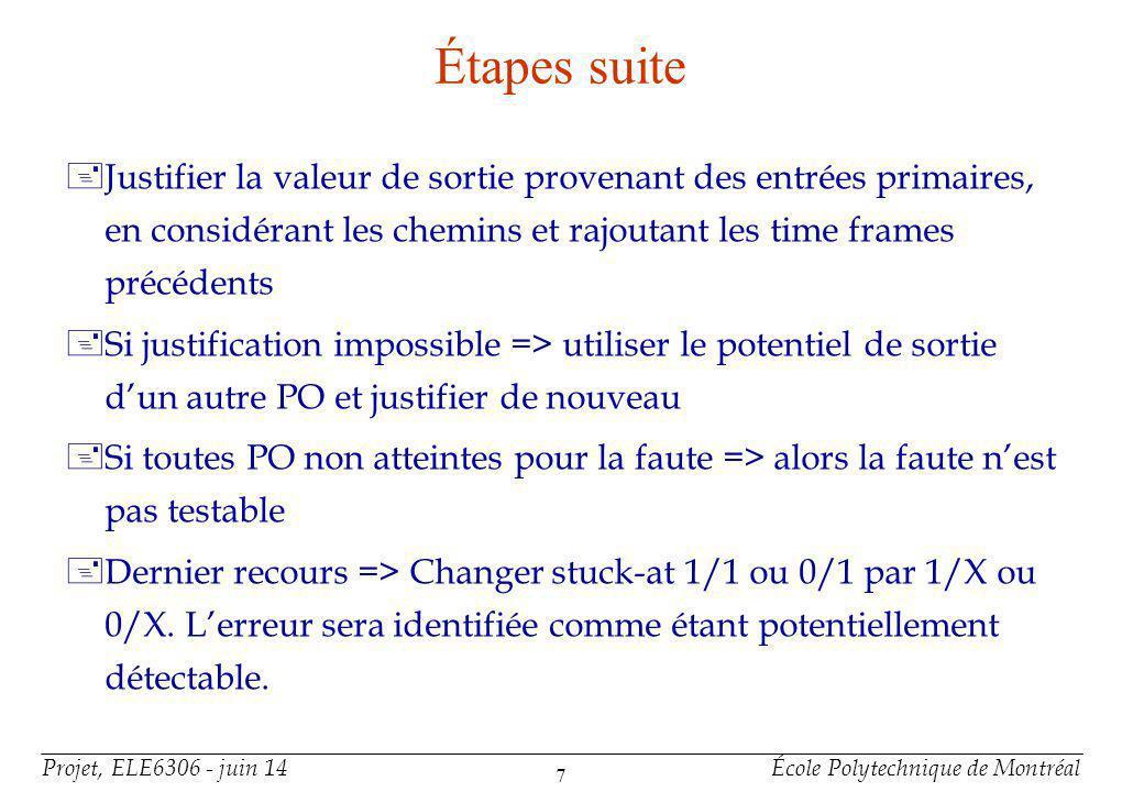 Projet, ELE6306 - juin 14École Polytechnique de Montréal 7 Étapes suite +Justifier la valeur de sortie provenant des entrées primaires, en considérant les chemins et rajoutant les time frames précédents +Si justification impossible => utiliser le potentiel de sortie dun autre PO et justifier de nouveau +Si toutes PO non atteintes pour la faute => alors la faute nest pas testable +Dernier recours => Changer stuck-at 1/1 ou 0/1 par 1/X ou 0/X.