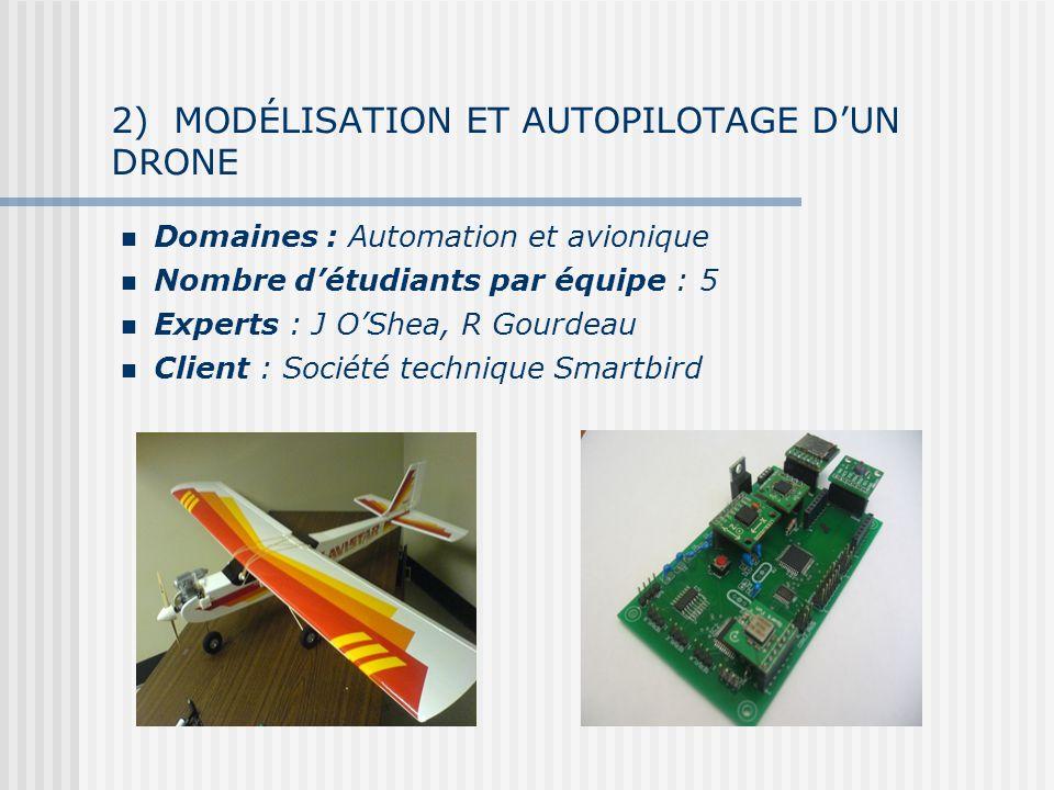 2) MODÉLISATION ET AUTOPILOTAGE DUN DRONE Domaines : Automation et avionique Nombre détudiants par équipe : 5 Experts : J OShea, R Gourdeau Client : Société technique Smartbird