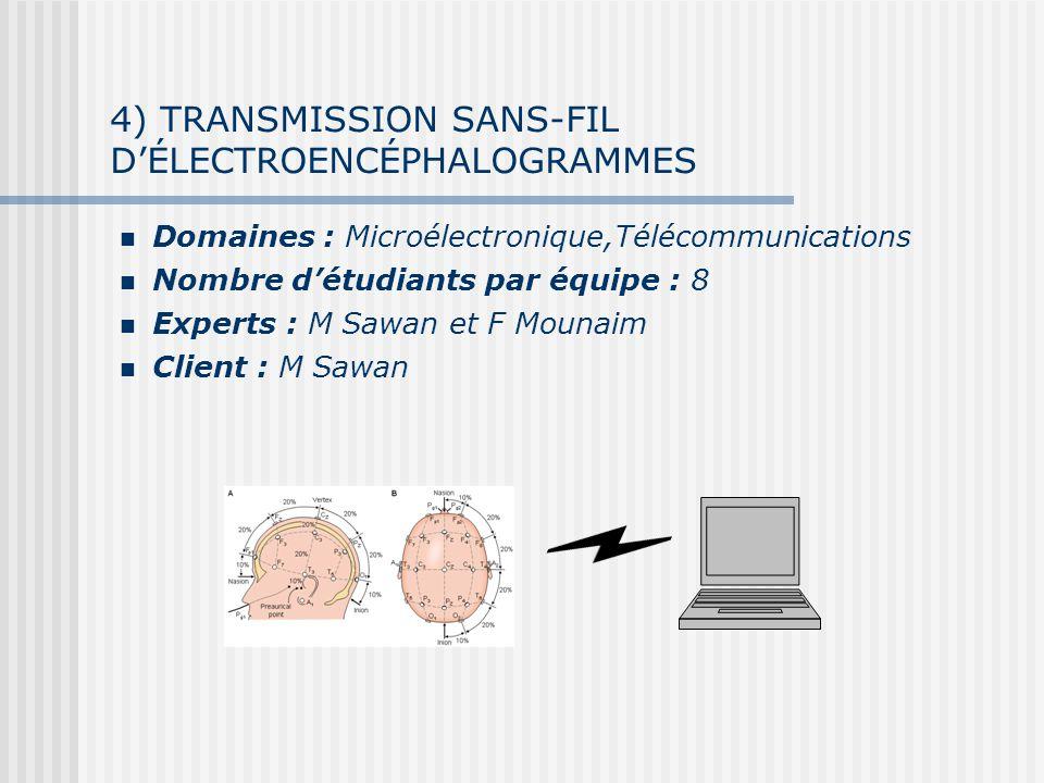 4) TRANSMISSION SANS-FIL DÉLECTROENCÉPHALOGRAMMES Domaines : Microélectronique,Télécommunications Nombre détudiants par équipe : 8 Experts : M Sawan et F Mounaim Client : M Sawan
