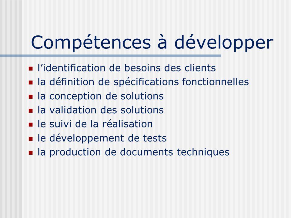Compétences à développer lidentification de besoins des clients la définition de spécifications fonctionnelles la conception de solutions la validation des solutions le suivi de la réalisation le développement de tests la production de documents techniques
