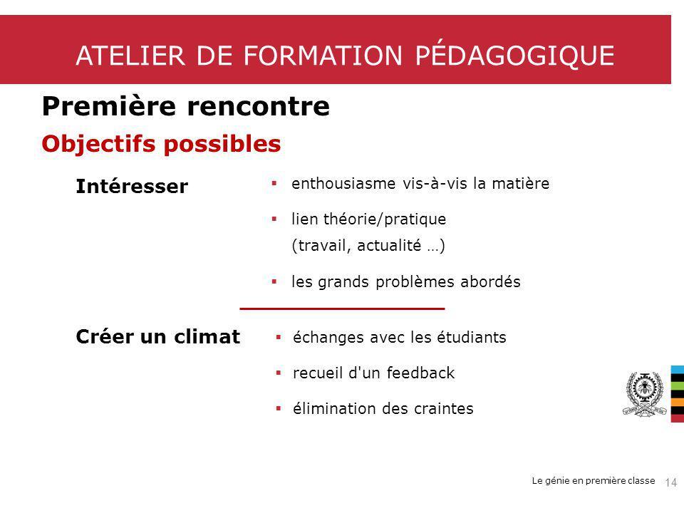 Le génie en première classe ATELIER DE FORMATION PÉDAGOGIQUE Première rencontre Objectifs possibles Intéresser Créer un climat enthousiasme vis-à-vis