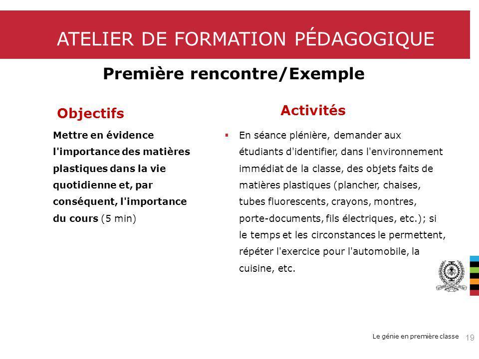 Le génie en première classe ATELIER DE FORMATION PÉDAGOGIQUE Première rencontre/Exemple Objectifs Activités Mettre en évidence l'importance des matièr
