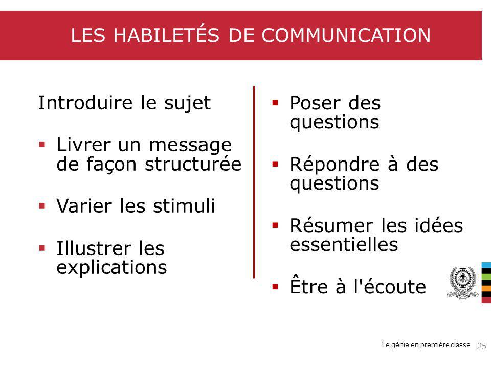 Le génie en première classe LES HABILETÉS DE COMMUNICATION Introduire le sujet Livrer un message de façon structurée Varier les stimuli Illustrer les