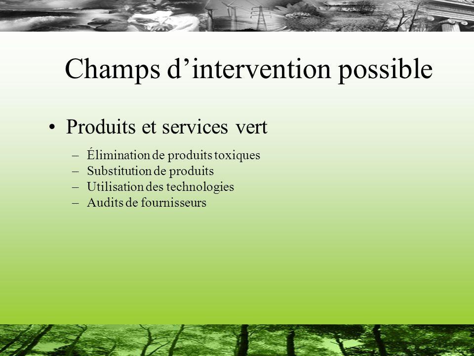 Champs dintervention possible Produits et services vert –Élimination de produits toxiques –Substitution de produits –Utilisation des technologies –Audits de fournisseurs