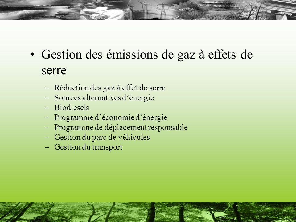 Gestion des émissions de gaz à effets de serre –Réduction des gaz à effet de serre –Sources alternatives dénergie –Biodiesels –Programme déconomie dénergie –Programme de déplacement responsable –Gestion du parc de véhicules –Gestion du transport