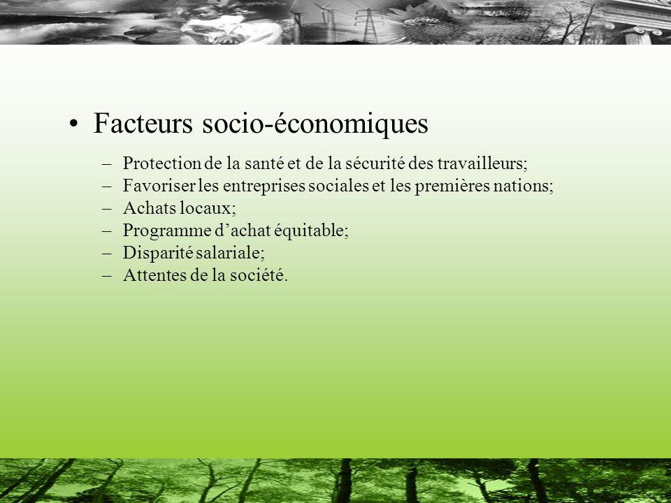 Facteurs socio-économiques –Protection de la santé et de la sécurité des travailleurs; –Favoriser les entreprises sociales et les premières nations; –Achats locaux; –Programme dachat équitable; –Disparité salariale; –Attentes de la société.