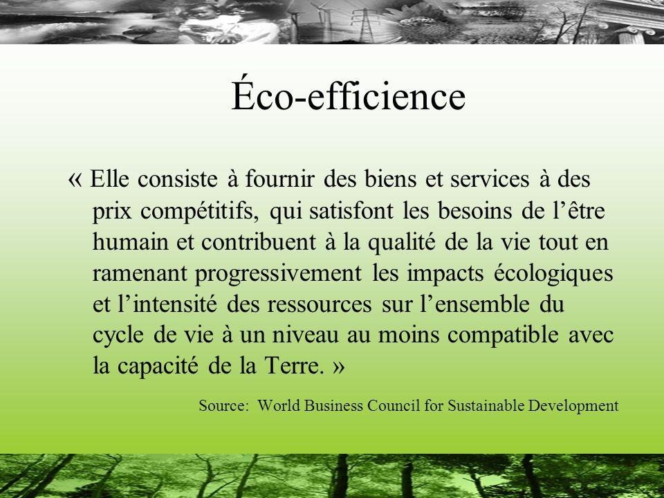Éco-efficience « Elle consiste à fournir des biens et services à des prix compétitifs, qui satisfont les besoins de lêtre humain et contribuent à la qualité de la vie tout en ramenant progressivement les impacts écologiques et lintensité des ressources sur lensemble du cycle de vie à un niveau au moins compatible avec la capacité de la Terre.