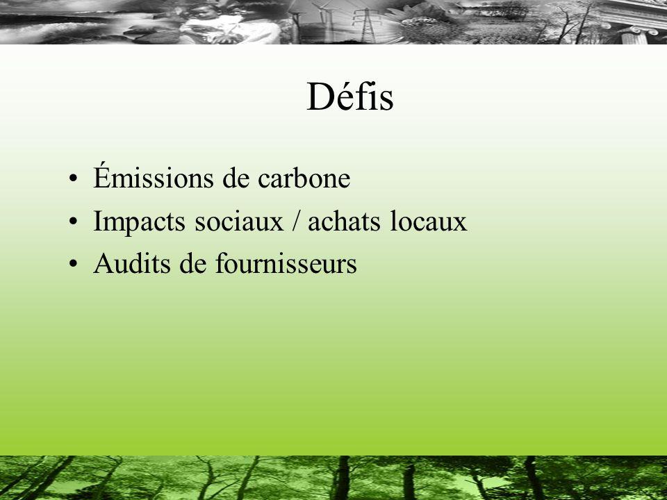 Défis Émissions de carbone Impacts sociaux / achats locaux Audits de fournisseurs