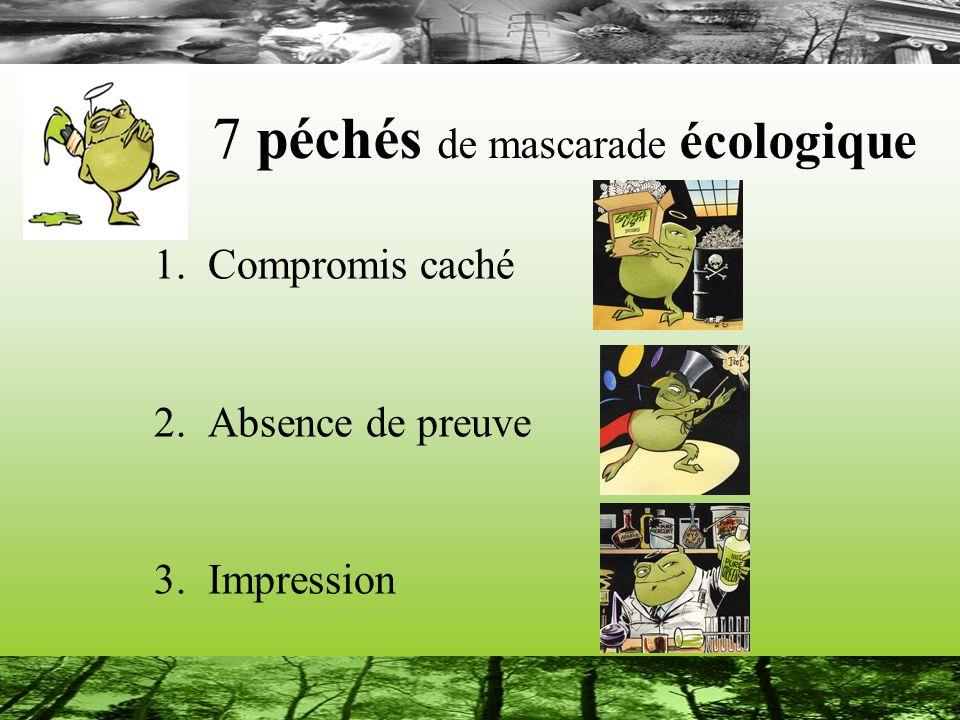 7 péchés de mascarade écologique 1.Compromis caché 2.Absence de preuve 3.Impression
